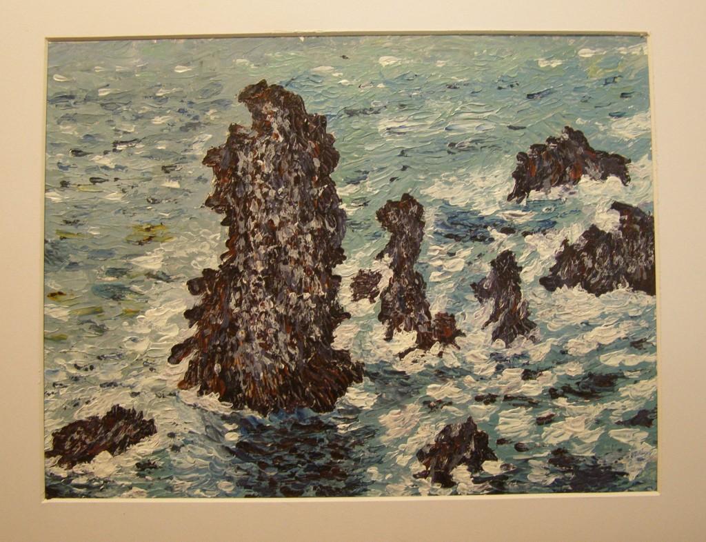 Acryl met paletmes op papier, 24 x 30 cm