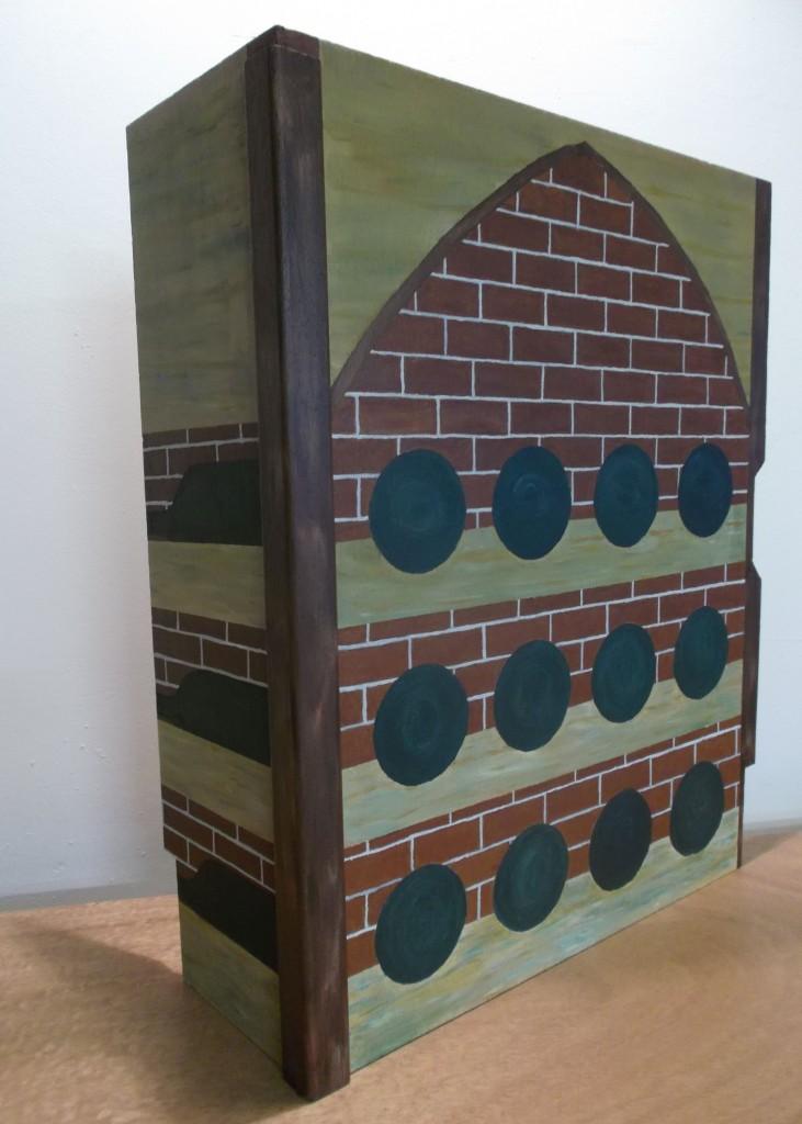 Paneel met afbeelding van wijnkelder beschilderd met acrylverf, hoog, breed, diep: 60 x 45 x 15 cm