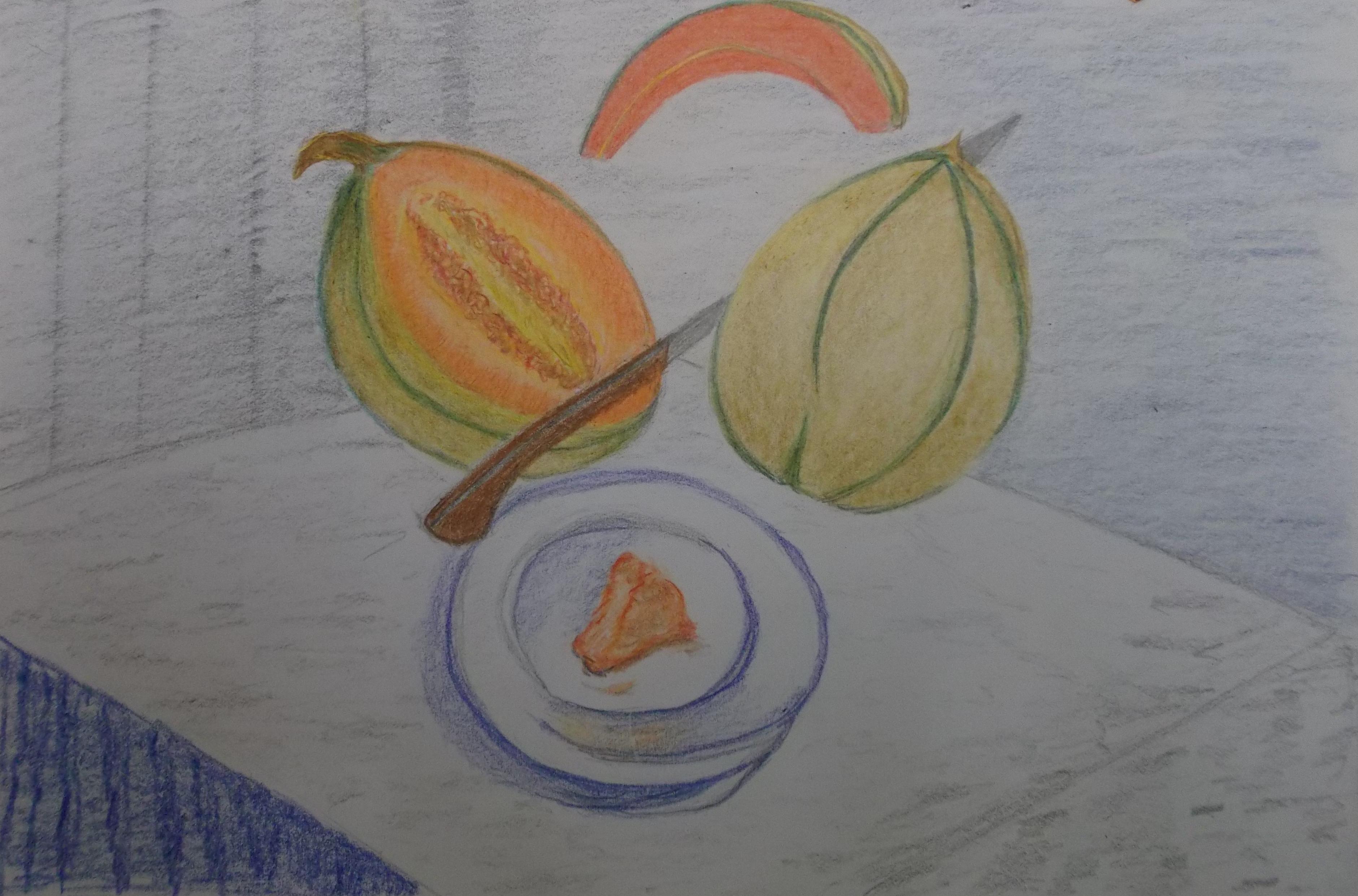 kleurpotlood op papier, 18 x 25 cm