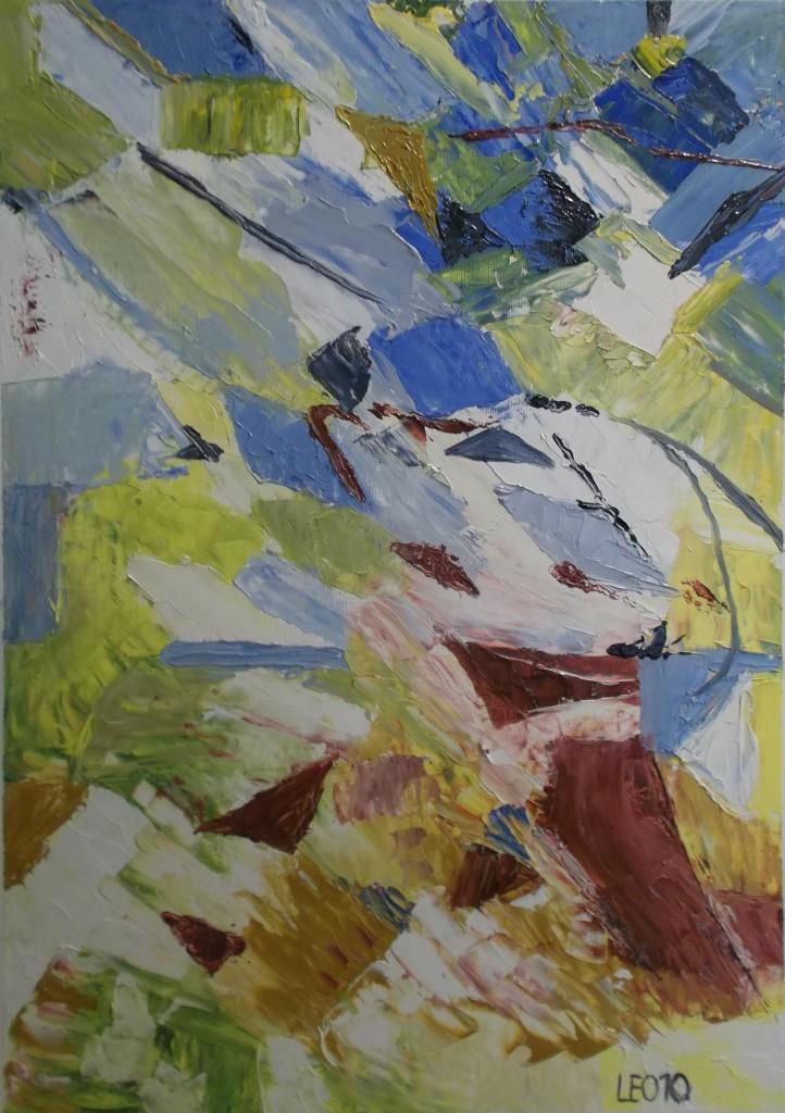 olieverf met paletmes op papier, 25 x 40 cm