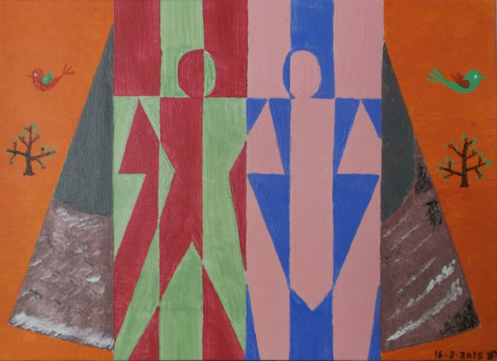 Acryl op paneel, 21 x 28 cm