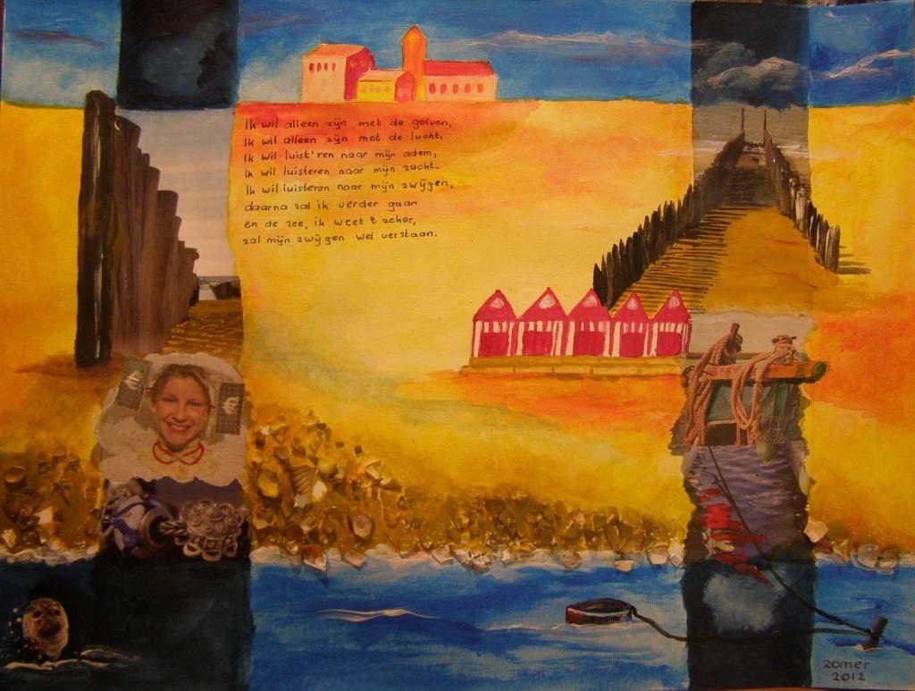 Collage op papier, 30 x 40 cm