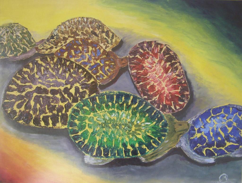 Olieverf op papier, 50 x 70 cm
