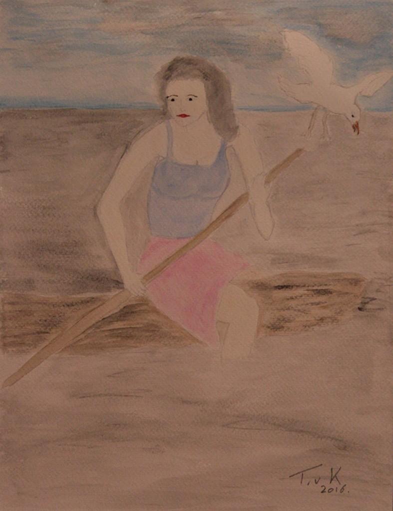 Aqarelpotlood met waterverf op papier 32x24 cm