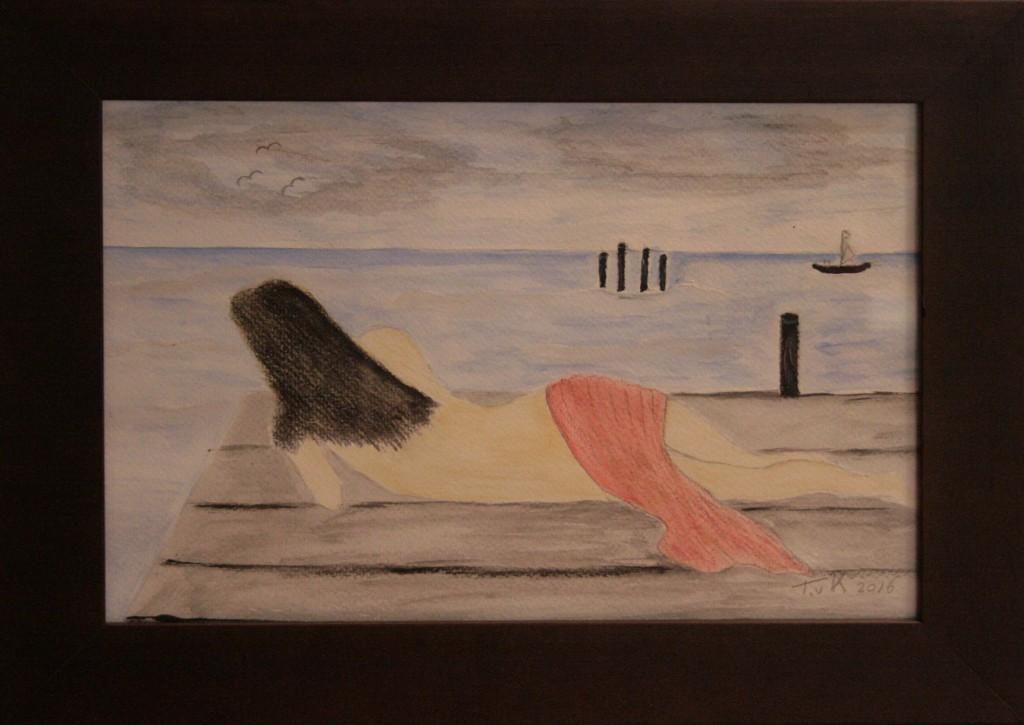 Aqurelpolood met waterverf op papier 37x27 cm