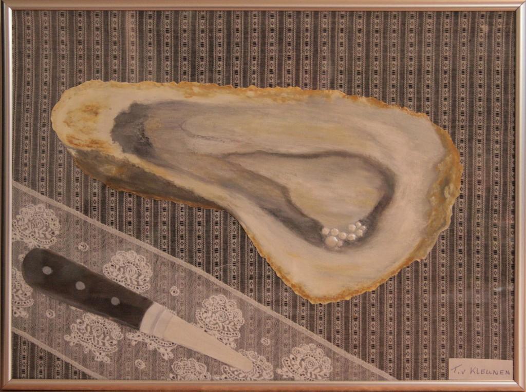 Olieverf op doek , kant en stof 41x31 cm